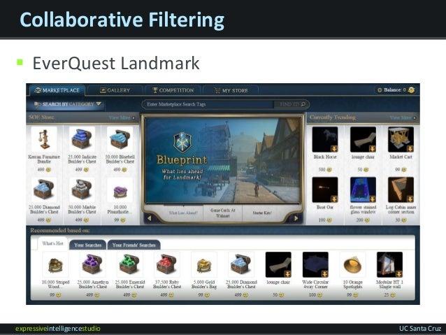 expressiveintelligencestudio UC Santa Cruz Collaborative Filtering  EverQuest Landmark