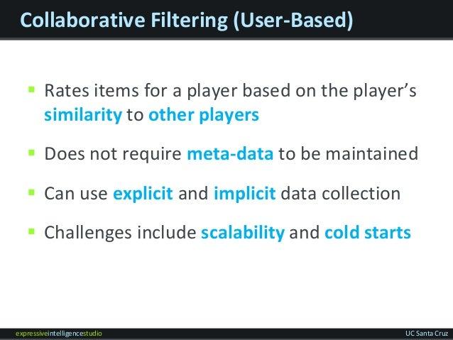 expressiveintelligencestudio UC Santa Cruz Collaborative Filtering (User-Based)  Rates items for a player based on the pl...