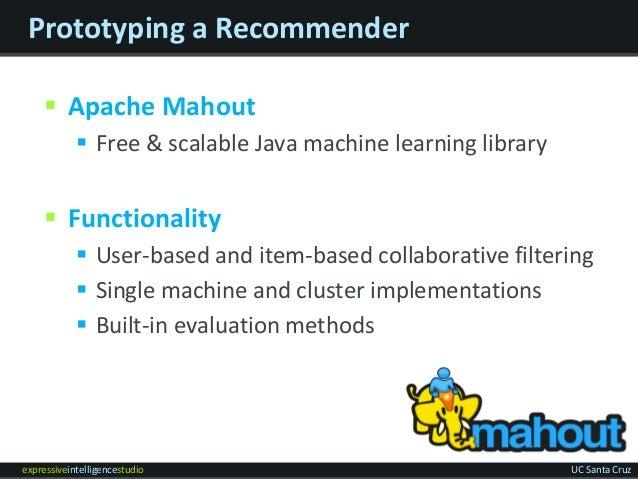 expressiveintelligencestudio UC Santa Cruz Prototyping a Recommender  Apache Mahout  Free & scalable Java machine learni...