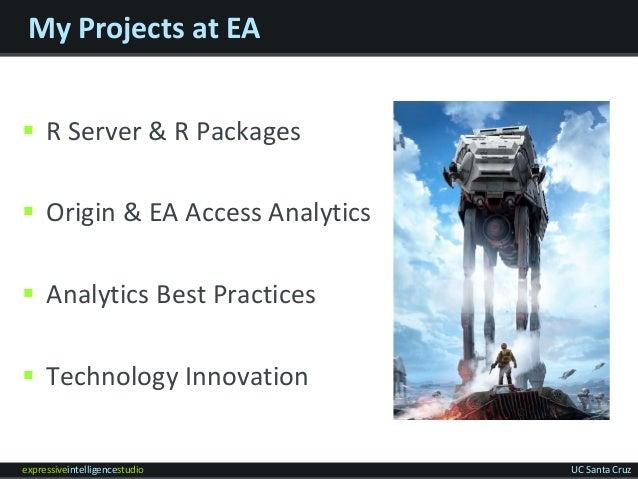 expressiveintelligencestudio UC Santa Cruz My Projects at EA  R Server & R Packages  Origin & EA Access Analytics  Anal...