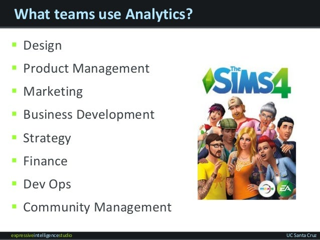 expressiveintelligencestudio UC Santa Cruz What teams use Analytics?  Design  Product Management  Marketing  Business ...