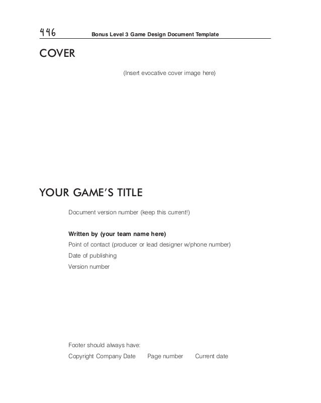 Game Design Doc Template - Game design doc template