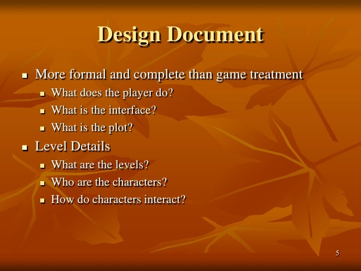 The Game Physics Section In The Game Design Document