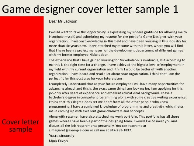 game designer cover letter