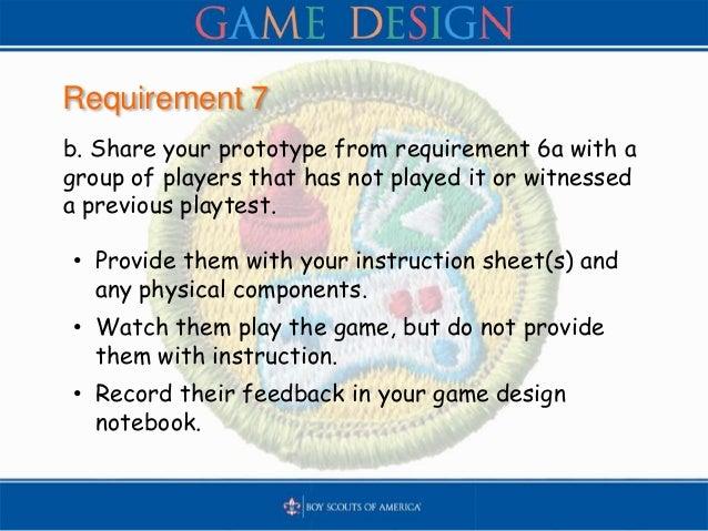 BSA Game Design Merit Badge - Game designer education requirements