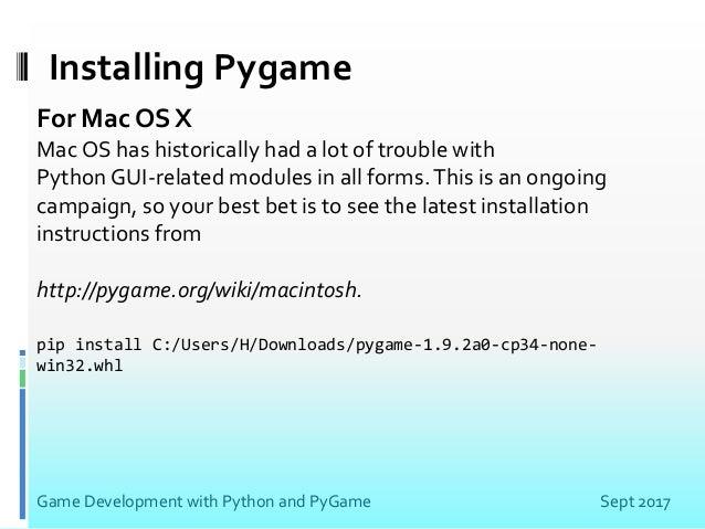 Pip Install Pygame Mac