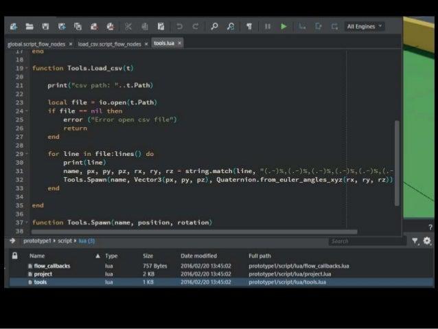 Flow でプロトタイピング、Luaで実測 ドキュメントのおすすめによると ゲームデザイナーはロジックをFlowでプロトタイプ できたロジックはプログラマーがLuaで実装して洗練させ るのがおすすめと書いてある http://help.auto...