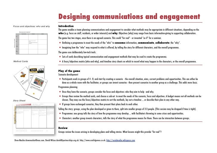 Designing communications and engagement Focus and objectives: who and why                                                 ...