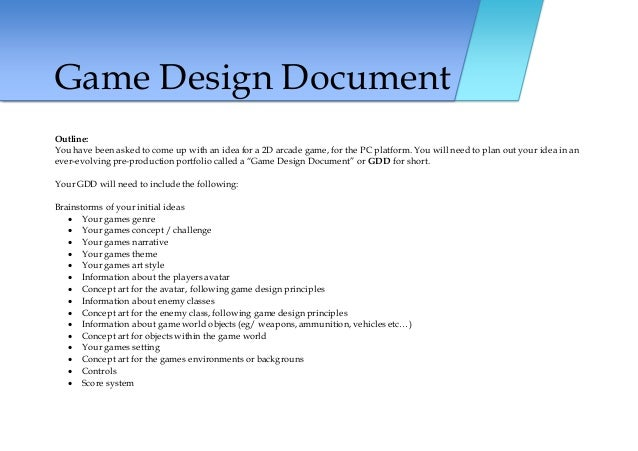 Game Maker Brief Level - Game design brief