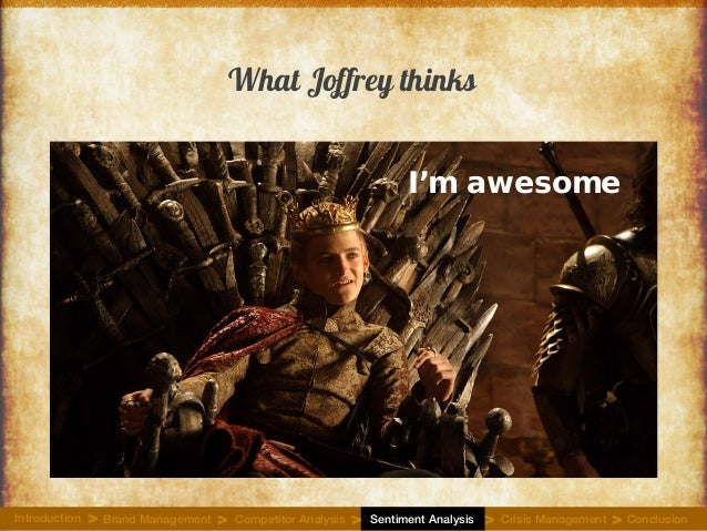 What Joffrey thinks I'm awesome Introduction Brand Management Competitor Analysis Sentiment Analysis Crisis Management Con...