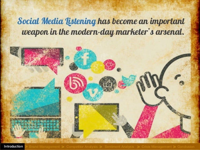 Social Media Listening has become an important weapon in the modern-day marketer's arsenal. Introduction Brand Management ...