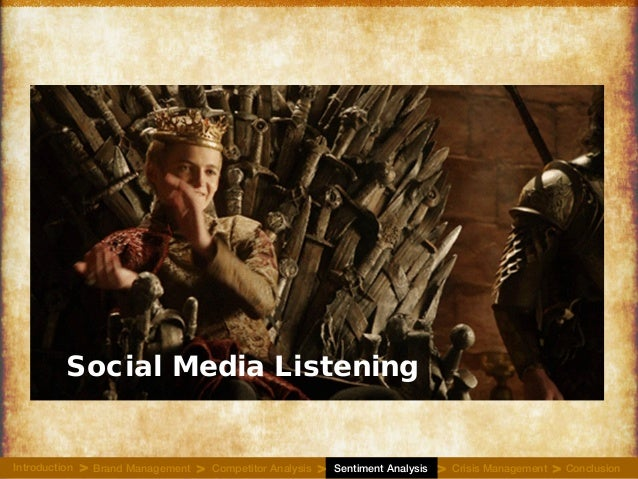 Social Media Listening Introduction Brand Management Competitor Analysis Sentiment Analysis Crisis Management Conclusion> ...