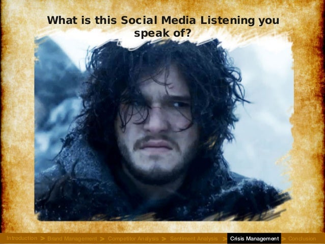 What is this Social Media Listening you speak of? Introduction Brand Management Competitor Analysis Sentiment Analysis Cri...
