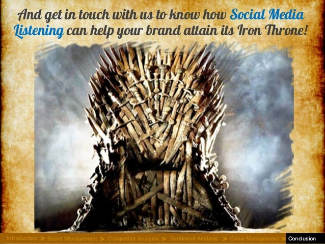 And get in touch with us to know how Social Media Listening can help your brand attain its Iron Throne! Introduction Brand...