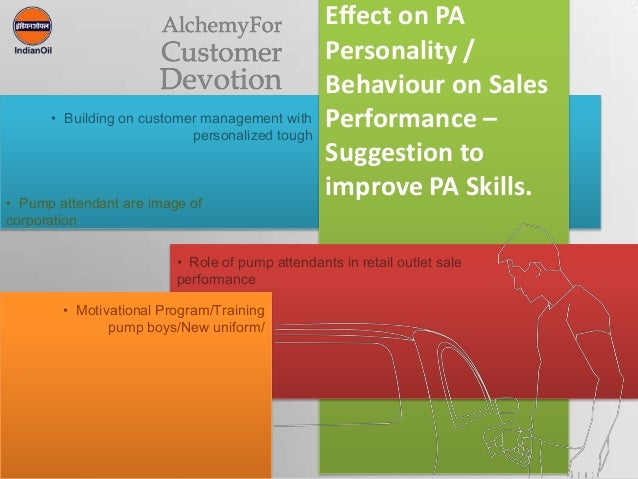 1Effect on PAPersonality /Behaviour on SalesPerformance –Suggestion toimprove PA Skills.• Building on customer management ...