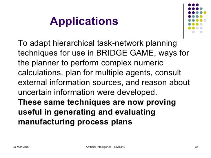 23-Mar-2009 Artificial Intelligence - CMT310 To adapt hierarchical task-network planning techniques for use in BRIDGE GAME...