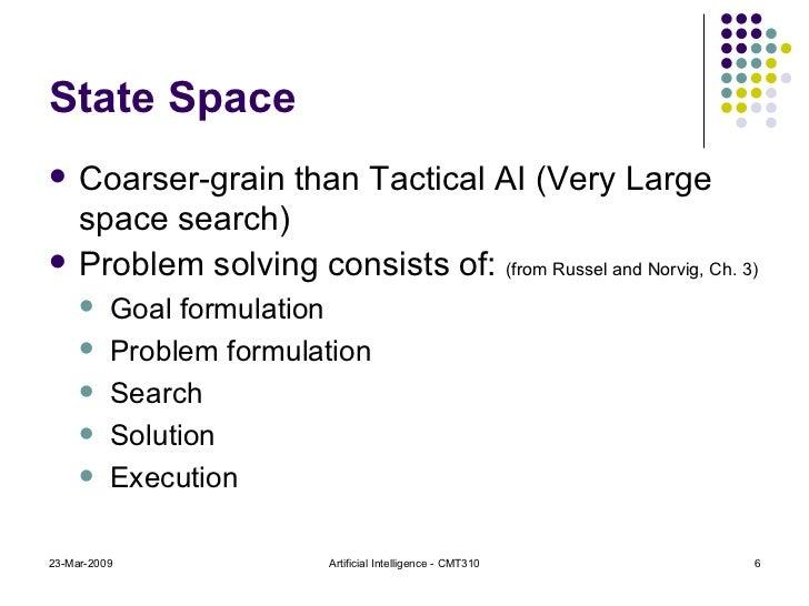 State Space <ul><li>Coarser-grain than Tactical AI (Very Large space search) </li></ul><ul><li>Problem solving consists of...