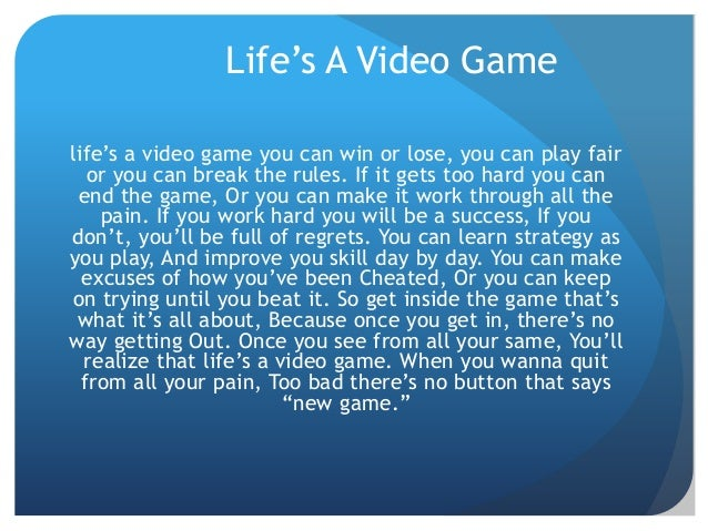 essay on life's a game