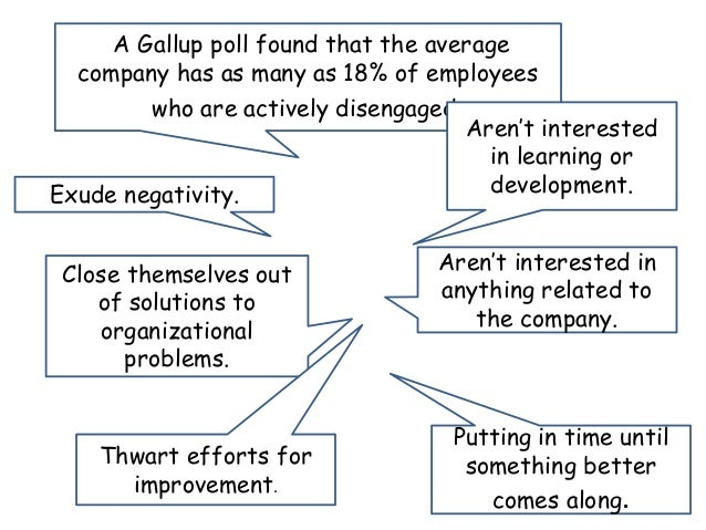 A Gallup poll found that the average company has as many as 18% of employees who are actively disengaged. Exude negativity...
