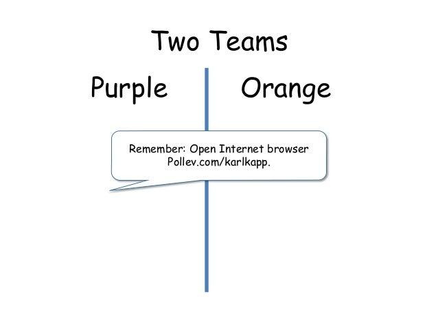 Two Teams Purple Orange Remember: Open Internet browser Pollev.com/karlkapp.