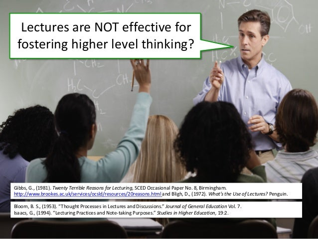 Lectures are NOT effective for fostering higher level thinking? Gibbs, G., (1981). Twenty Terrible Reasons for Lecturing, ...