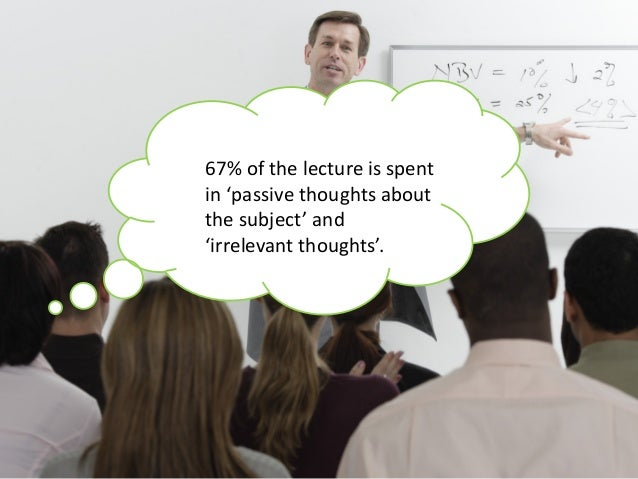67% of the lecture is spent in 'passive thoughts about the subject' and 'irrelevant thoughts'.