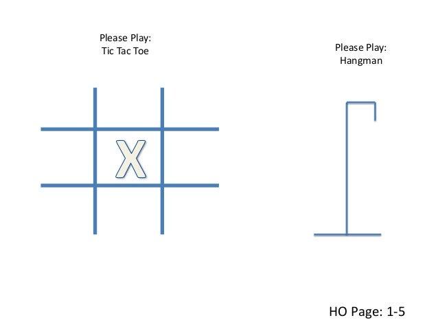 Please Play: Tic Tac Toe HO Page: 1-5 Please Play: Hangman