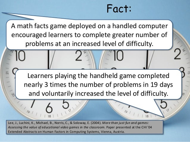 A math facts game deployed on a handled computer encouraged learners to complete greater number of problems at an increase...