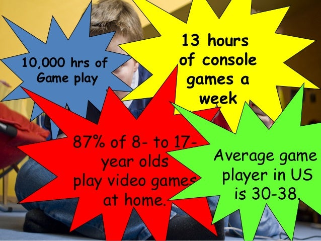 10,000 hrs of Game play 13 hours of console games a week Digital divisions. Report by the Pew /Internet: Pew Internet & Am...