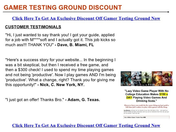 GAMER TESTING GROUND DISCOUNT HOW DOES WORK