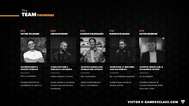 VICTOR FOLMANN CEO The TEAM VICTOR @ GAMERZCLASS.COM JONAS ROSBECH CMO RASMUS HOLMGAARD CPO MARINUS ELGAARD CTO OLIVER GRO...