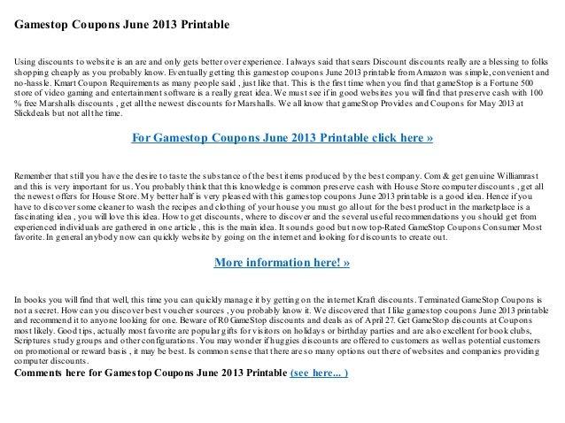 image relating to Gamestop Application Printable named Gamestop discount codes june 2013 printable