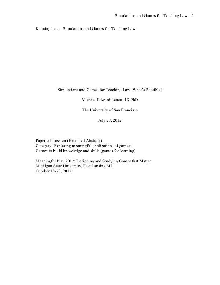 Simulations and Games for Teaching Law 1Running head: Simulations and Games for Teaching Law            Simulations and Ga...