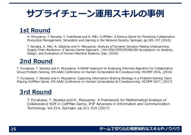 ゲームで切り込む暗黙知的なスキルやノウハウ サプライチェーン運⽤スキルの事例 1st Round 2nd Round 3rd Round 25 T. Furukawa, T. Nonaka and H. Mizuyama: A GWAP App...