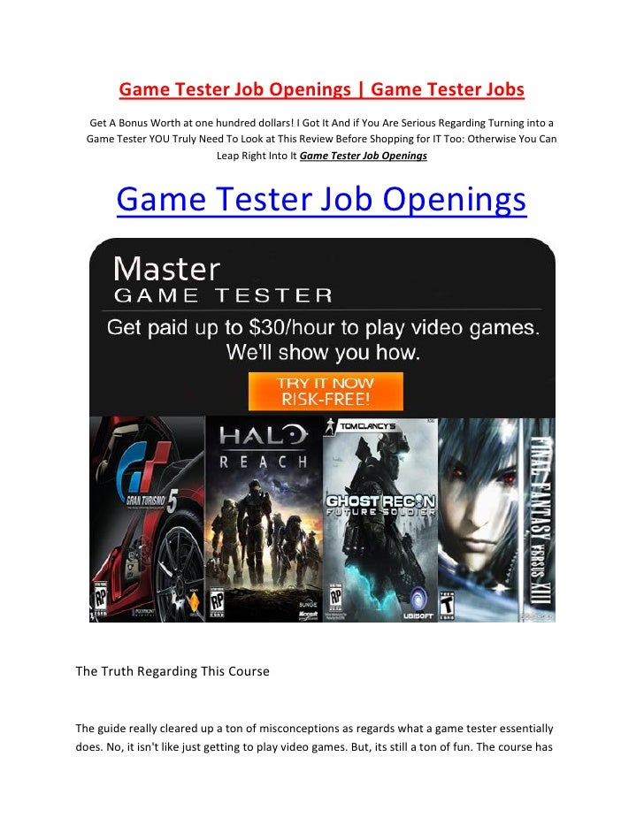 Game Tester Job Openings Video