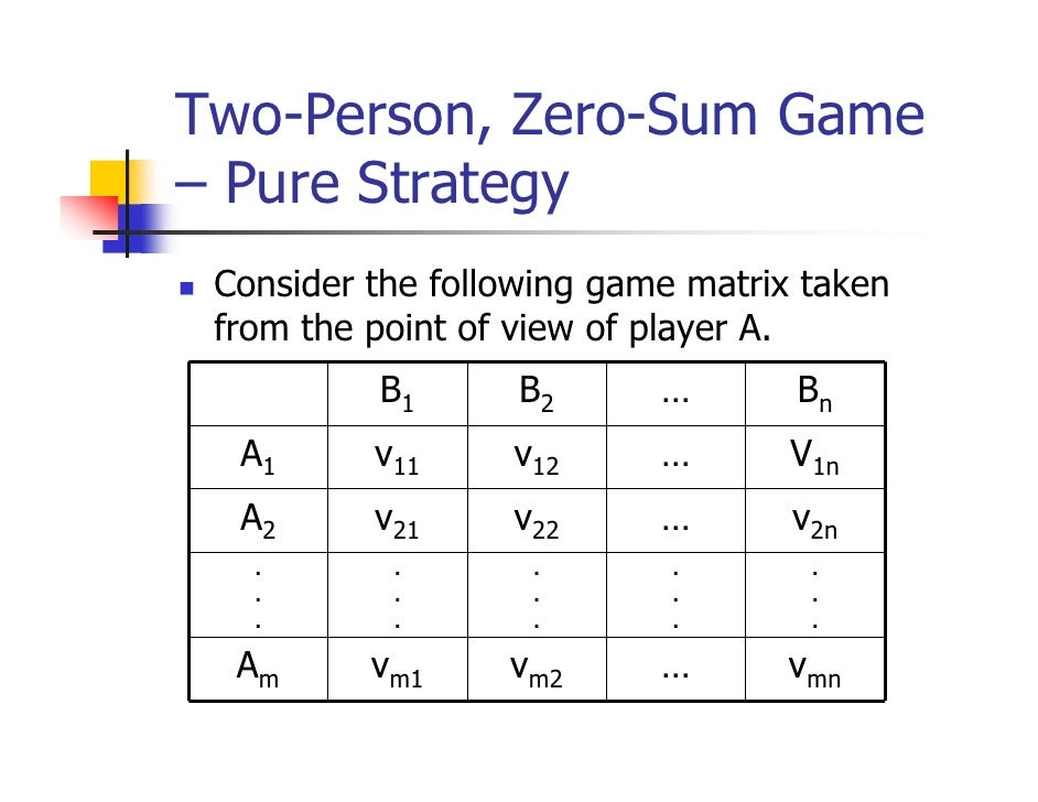 Two-Person, Zero-Sum Game– Pure Strategy Consider the following game matrix taken from the point of view of player A.     ...