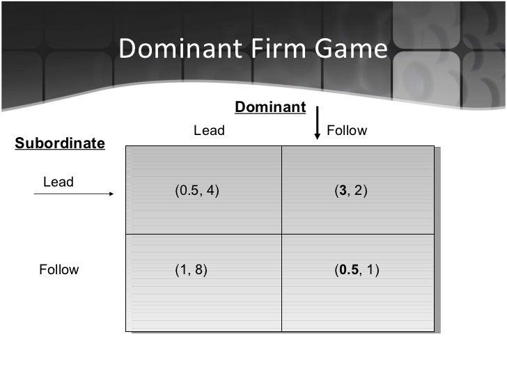 Dominant Firm Game Lead   Follow Dominant Subordinate Lead Follow (0.5, 4) (1, 8) ( 3 , 2) ( 0.5 , 1)