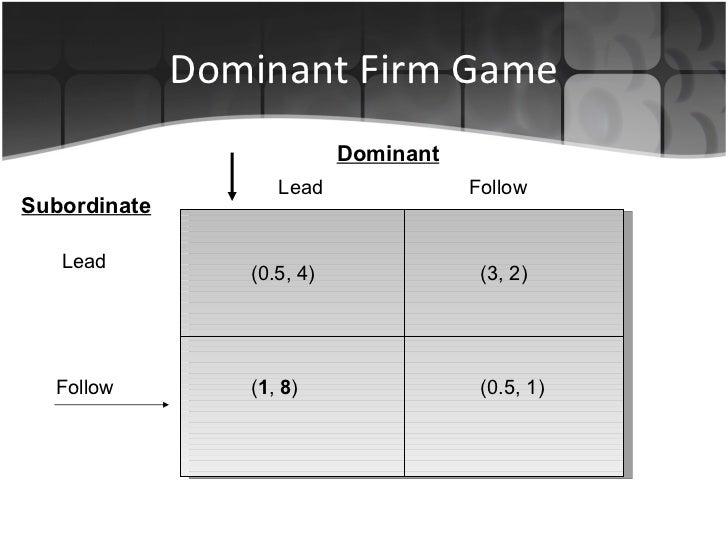 Dominant Firm Game Lead   Follow Dominant Subordinate Lead Follow (0.5, 4) ( 1 ,  8 ) (3, 2) (0.5, 1)
