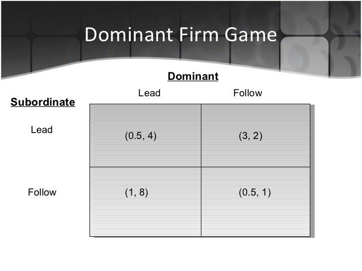 Dominant Firm Game Lead   Follow Dominant Subordinate Lead Follow (0.5, 4) (1, 8) (3, 2) (0.5, 1)