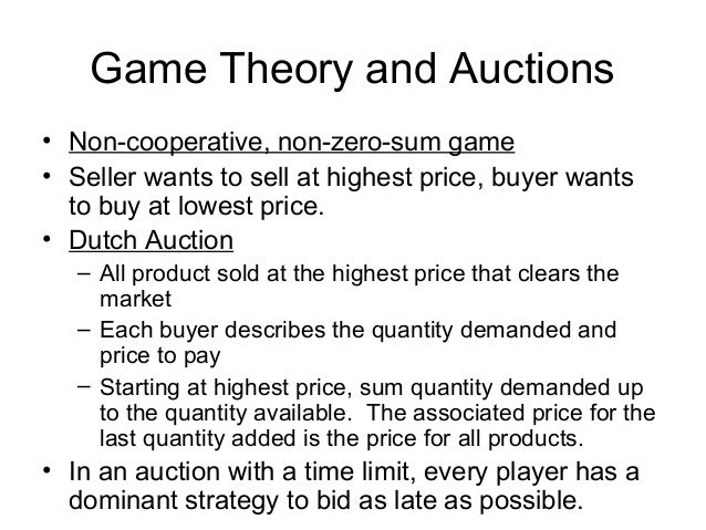 42 Game Theory And Auctions