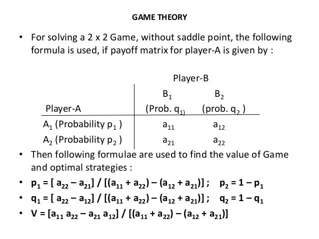 game theory for solving a