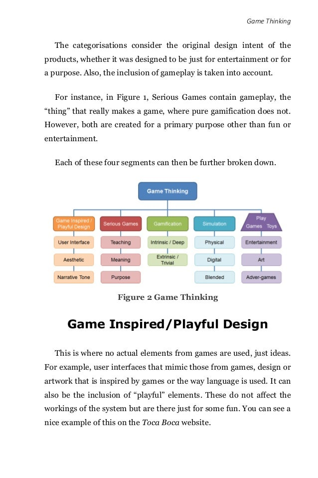 Game Thinking The categorisations consider the original design intent of the products, whether it was designed to be just ...