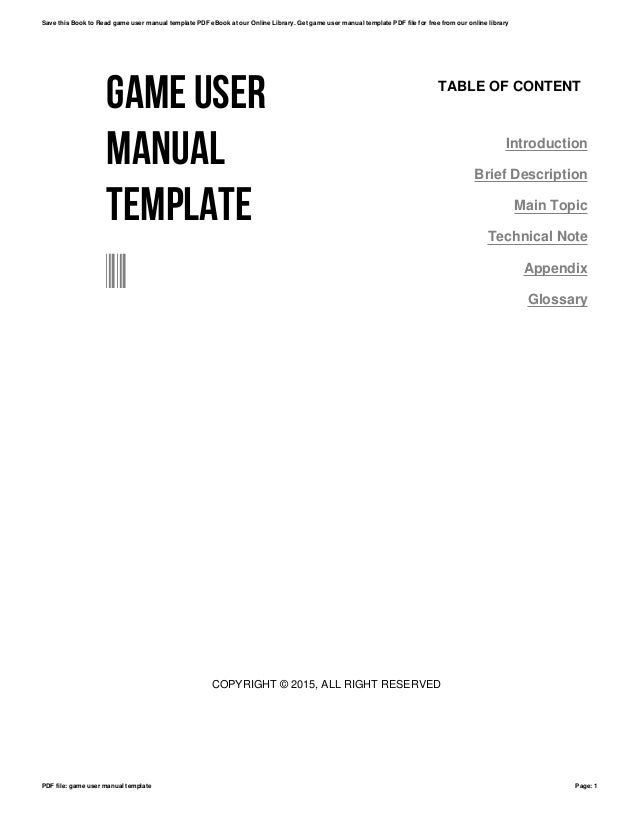 Game user manual template