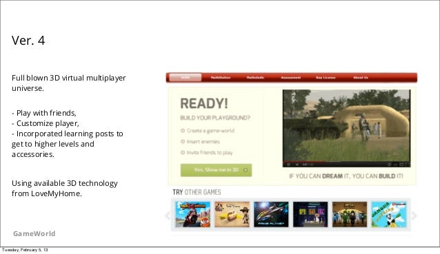 Ver. 4    Full blown 3D virtual multiplayer    universe.    - Play with friends,    - Customize player,    - Incorporated ...