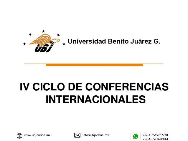 IV CICLO DE CONFERENCIAS INTERNACIONALES