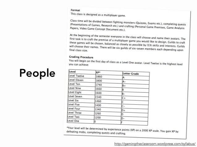 Peoplehttp://gamingtheclassroom.wordpress.com/syllabus/