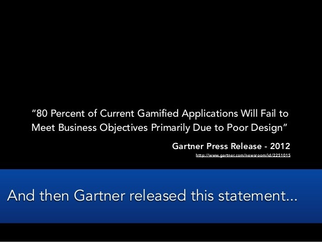 """""""80 Percent of Current Gamified Applications Will Fail toMeet Business Objectives Primarily Due to Poor Design""""Gartner Pre..."""