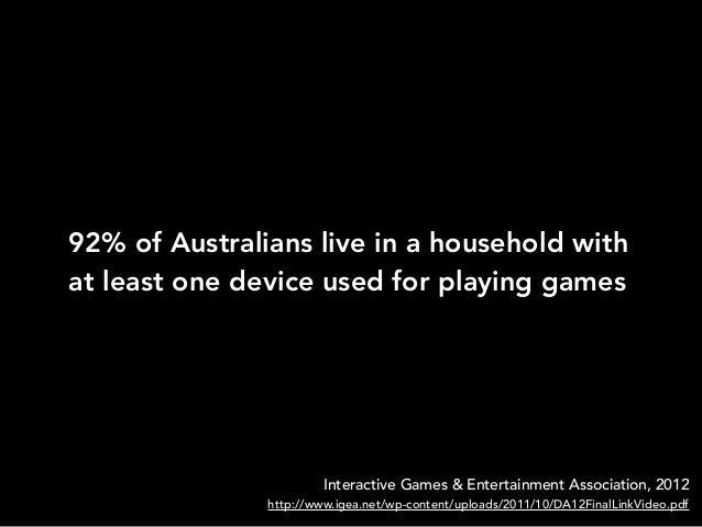 92% of Australians live in a household withat least one device used for playing gamesInteractive Games & Entertainment Ass...