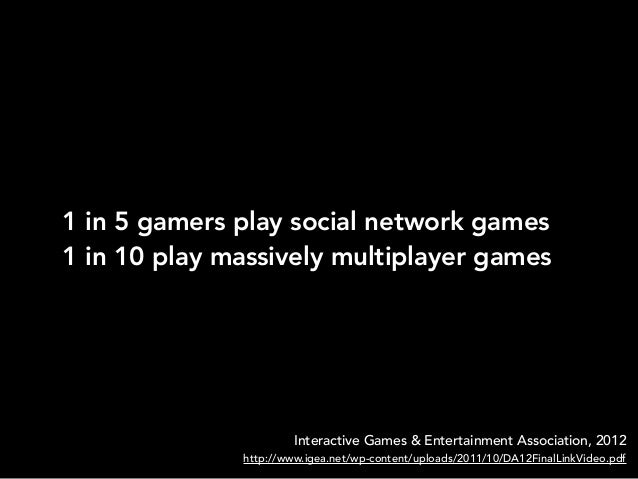 1 in 5 gamers play social network games1 in 10 play massively multiplayer gamesInteractive Games & Entertainment Associati...
