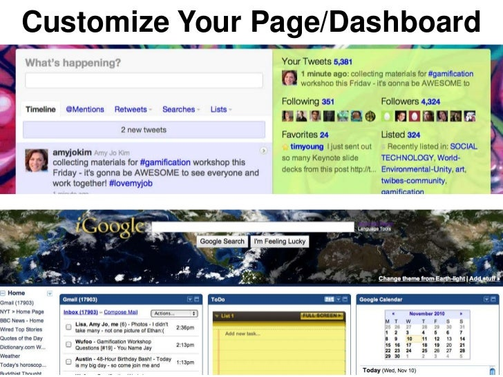 Customize Your Page/Dashboard
